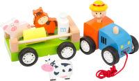 Tracteur en bois avec animaux
