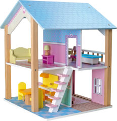 Maison de poupée Toit bleu à 2 étages, tournante