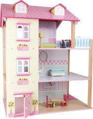 Maison de poupée Toit rose à 3 étages, tournante