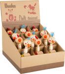 Figurines en bois Coq et poule, présentoir