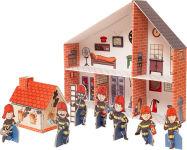 """Maison de poupée """"caserne de pompiers"""" en carton"""