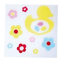 Gel-sticker motifs - duck with flowers, set of 3