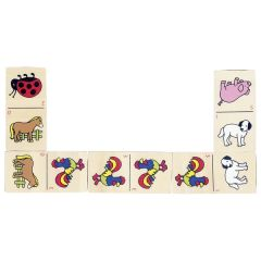 Dominos des animaux, boîte en bois