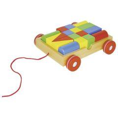 Chariot à tirer avec 18 éléments de construction,goki basic.