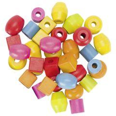 Set de perles, cylindre Ø= 2cm, H=2 cm, bois,