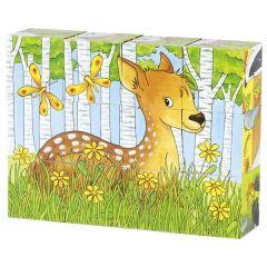 Puzzle de cubes, animaux de la forêt