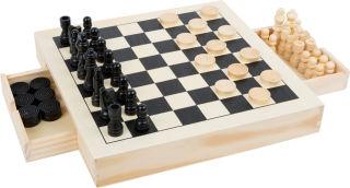 Kit de jeux Echecs, dames & jeu du moulin