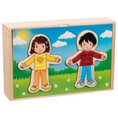 Puzzle à habiller - Garçon et fille en coffret bois