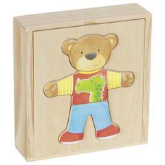Boîte-puzzle, ours à habiller en coffret bois