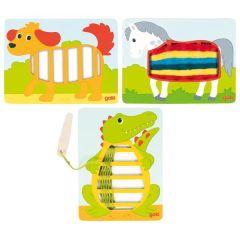 Images à tisser, crocodile, chien et cheval