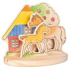 Images en bois à colorier, avec socle, le club des poneys