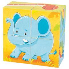 Puzzle de cubes, animaux sauvages